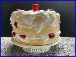 Vtg Strawberry Shortcake Covered Cake Plate Ceramic Pedestal Hand Painted Dish