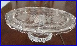 Vtg heavy Lead Cut Crystal Pedestal Cake Plate stand sawtooth pineapple floral