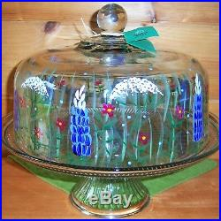 WHITE GATE GLASS Boyd&Doyle LUPINEWILDFLOWER Glass PEDESTAL CAKE PLATE Stand