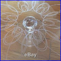 Waterford Crystal Ballet Icing Footed Pedestal Cake Plate Etched Signed Holiday