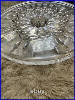 Waterford Crystal Lismore 11 Pedestal Cake Plate Stand / Seahorse Sticker