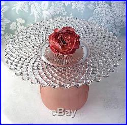 Wedding Cake Pedestal Cupcake Cookie Plate English Hobnail Pink Vintage Glass