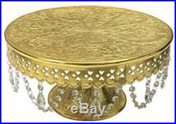 Wedding Cake Stand Round Pedestal Gold Finish 14 With Glass Clear display plate