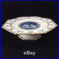 Wedgwood Cherub Boys Blue Gold Pedestal Footed Cake Plate Compote Figural Ribbon