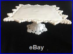 Westmoreland Glass Milk Glass Ring & Petal Cake Plate Pedestal