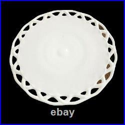 Westmoreland Milk Glass Lace Edge Pedestal Cake Stand/Plate Wedding Bridal