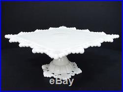 Westmoreland Milk Glass Ring & Petal Sq. Pedestal Cake Plate And 2 Candlesticks