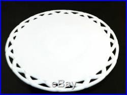 White Milk Glass Lace Pedestal Cake Plate