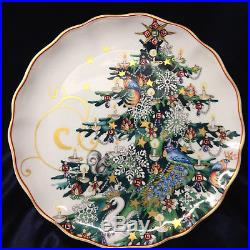 Williams Sonoma Christmas Tree Pedestal Cake Plate 11 7/8 Gold Scrolls Swan