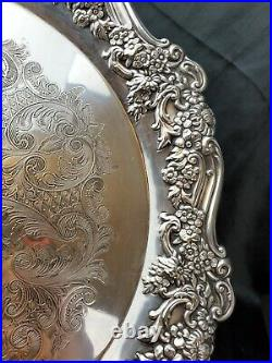 Wm A. Rogers Sectional Oneida Silverplate pedestal cake plate tray stand 14.5