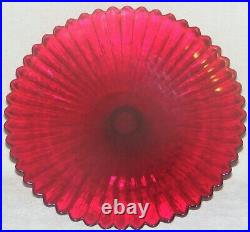 Yalos Casa Murano Italy Ruby Red Glass Fluted Pedestal Cake Stand Plate