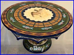 ZRIKE Moose Northwoods Pedestal Cake Plate Stand Hand Painted Danna Cullen
