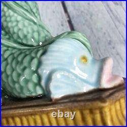 Zrike Majolica Pottery Ceramic Dolphin Fish Pedestal Cookie Stand Cake Plate