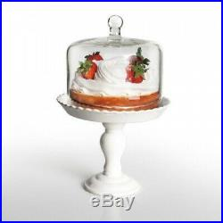 (white) American Atelier Bianca Pedestal Cake Plate with Dome, White